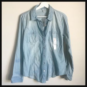 [NWT] GUESS   chambray long sleeve button up shirt